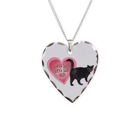 "Necklace Heart Charm ""Love me, love my Cat&qu"