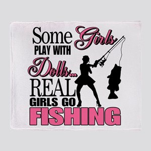 Real Girls Go Fishing Throw Blanket