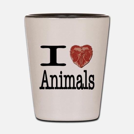 I Heart Animals Shot Glass