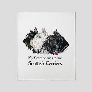 Scottish Terrier Trio Throw Blanket
