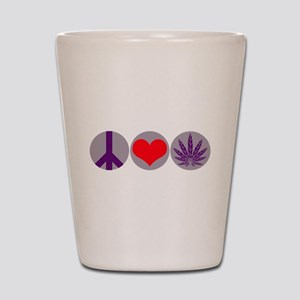 Peace Love Purple Leaf Shot Glass