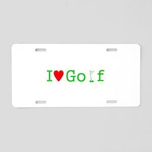I Heart Golf Aluminum License Plate