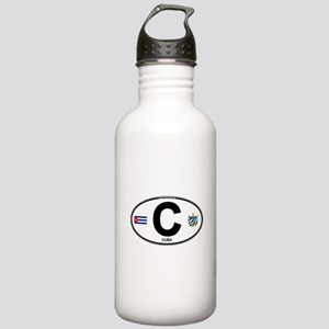 Cuba Intl Oval Stainless Water Bottle 1.0L