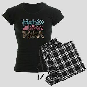 Peace Love Doggies Women's Dark Pajamas