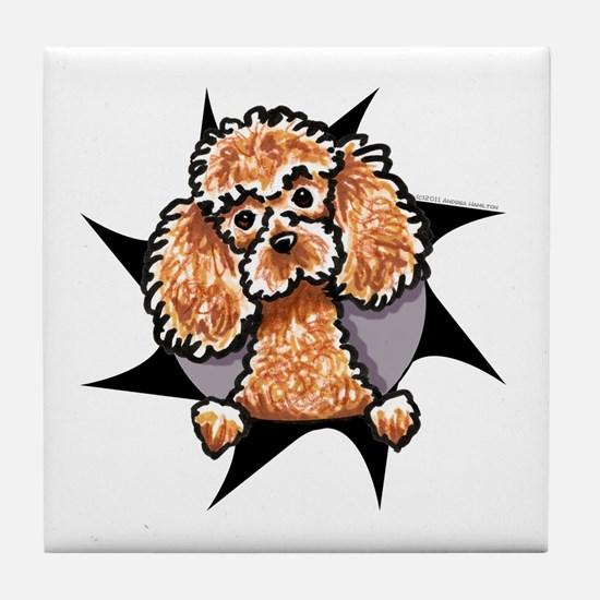 Apricot Poodle Burst Tile Coaster