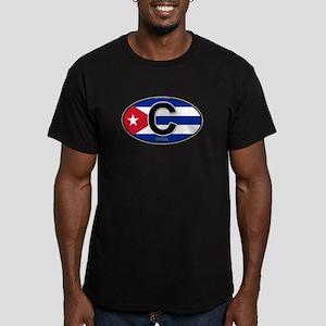 Cuba Intl Oval (colors) Men's Fitted T-Shirt (dark