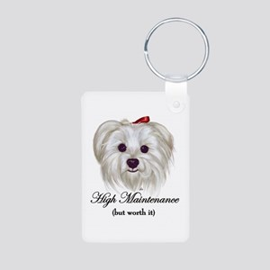 Captioned Maltese Aluminum Photo Keychain