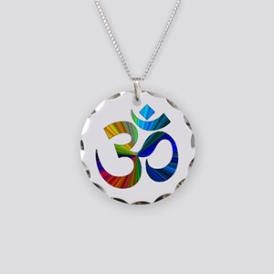 Om 2 Necklace Circle Charm