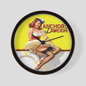 Anchors Aweigh Navy Pinup Girl Wall Clock