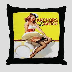 Anchors Aweigh Navy Pinup Girl Throw Pillow