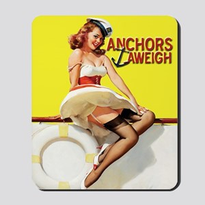 Anchors Aweigh Navy Pinup Girl Mousepad