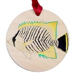 Chevron Butterflyfish Maple Round Ornament