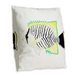 Chevron Butterflyfish Burlap Throw Pillow