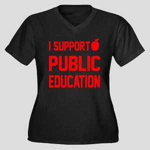 Public Education: Women's Plus Size V-Neck Dark T-