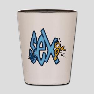 Blue Sex and Symbols Shot Glass