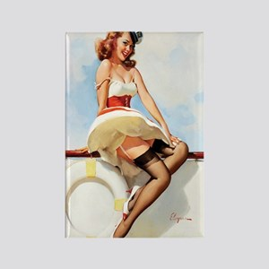 Anchors Aweigh Navy Pinup Girl Rectangle Magnet