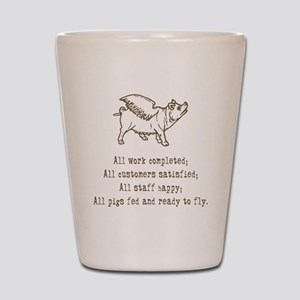 Pigs Ready to Fly Shot Glass
