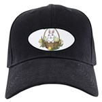 Easter Bunny Cute Pocket Rabb Black Cap with Patch