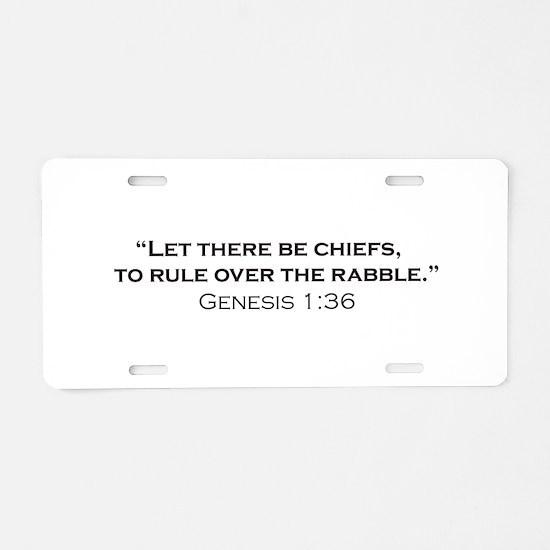 Chiefs / Genesis Aluminum License Plate