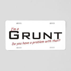 Grunt/Problem! Aluminum License Plate
