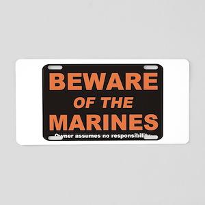 Beware / Marines Aluminum License Plate