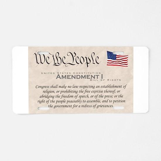Amendment I Aluminum License Plate