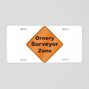Ornery Surveyor Aluminum License Plate