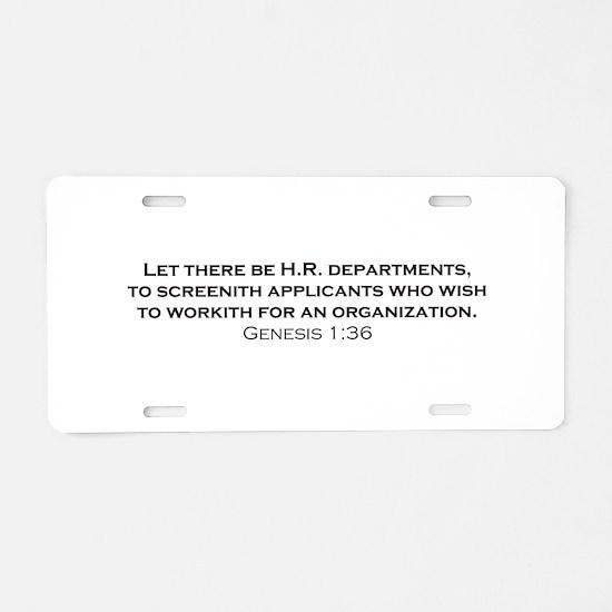 HR / Genesis Aluminum License Plate