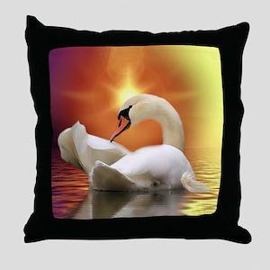 Mystical Swan in Golden Light Throw Pillow