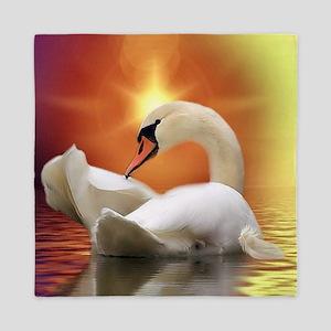 Mystical Swan in Golden Light Queen Duvet