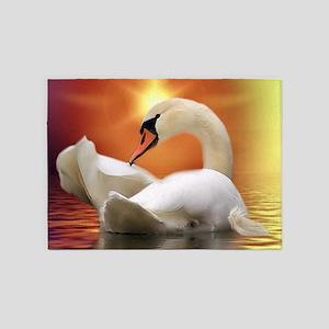 Mystical Swan in Golden Light 5'x7'Area Rug