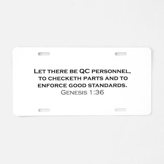 Quality Control / Genesis Aluminum License Plate