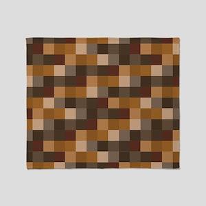 Brown Pixelated Pattern | Gamer Throw Blanket