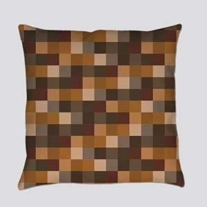 Brown Pixelated Pattern   Gamer Everyday Pillow
