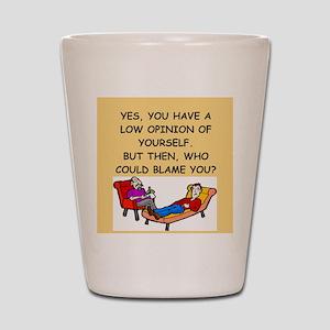 funny psychology joke Shot Glass