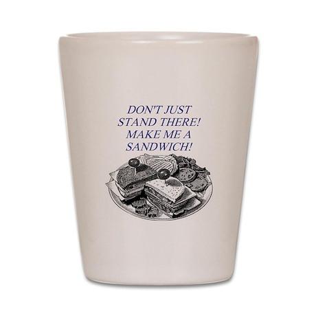 sandwich male chauvinist pig Shot Glass