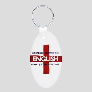 England Flag St George's Day Aluminum Oval Keychai