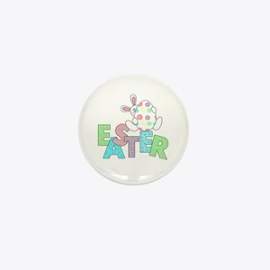 Bunny With Easter Egg Mini Button