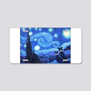Starry Night Border Collies Aluminum License Plate