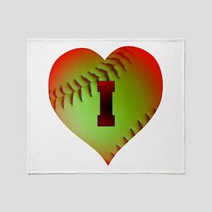 I Love Softball (Optic Yellow) Throw Blanket