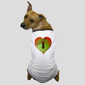 I Love Softball (Optic Yellow) Dog T-Shirt
