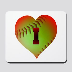 I Love Softball (Optic Yellow) Mousepad