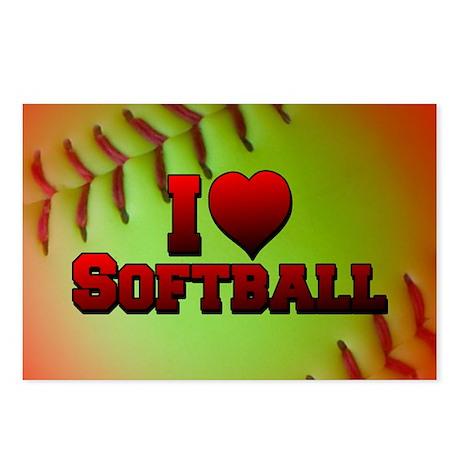 I Love Softball (Optic Yellow) Postcards (Package
