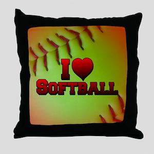 I Love Softball (Optic Yellow) Throw Pillow