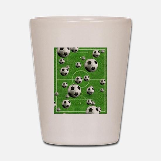 World Cup Balls over Field Shot Glass