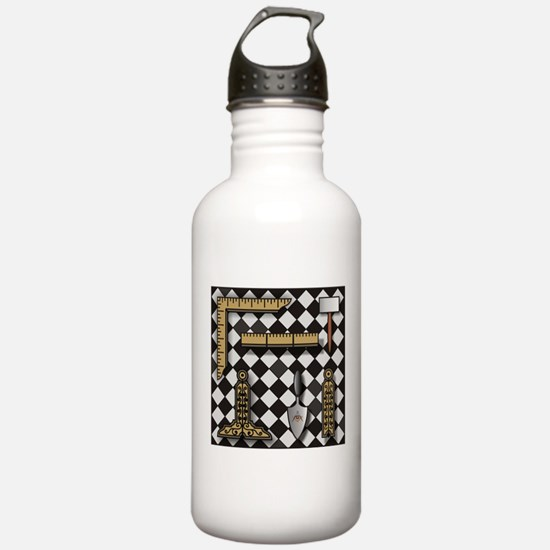 Working Tools on Mosaic Pavement Water Bottle