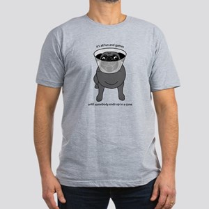 Conehead Black Pug Men's Fitted T-Shirt (dark)