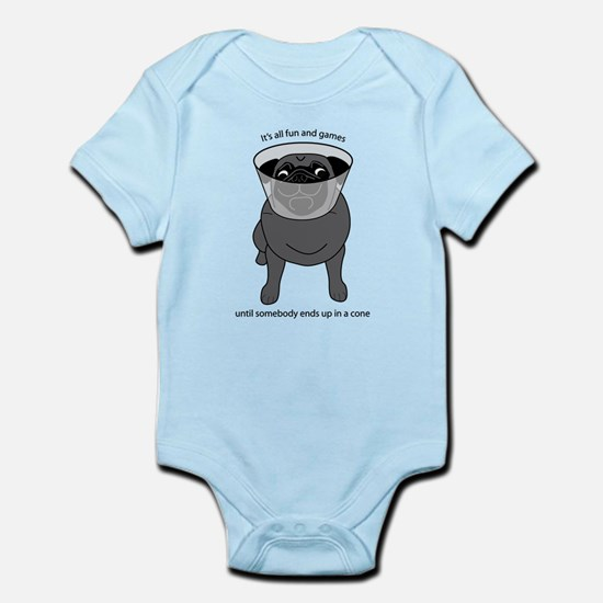 Conehead Black Pug Infant Bodysuit