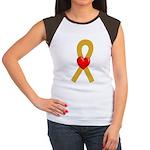 Gold Ribbon Heart Women's Cap Sleeve T-Shirt