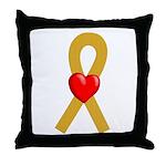 Gold Ribbon Heart Throw Pillow